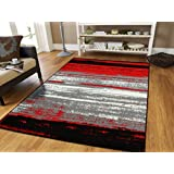 New Red 5x7 Rugs For Living Room Under 50 Red Black Grey White 5x8 Rugs  Western Style Lines 5x7 Abstract Carpet, 5x8 Area Rug