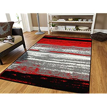 Amazon Com Red Abstract Runner Rug 2x8 Hallway Runners