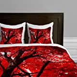 DENY Designs Happee Monkee Red Canopy Duvet Cover, Twin