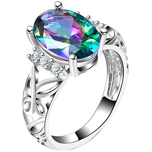 TEMEGO 14k White Gold Oval Shaped Mystic Rainbow Topaz Cutout Butterfly Ring,Size 9