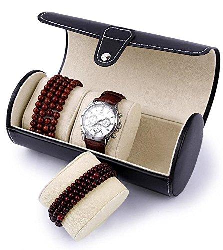 Autoark Leather Roll Traveler's Watch Storage Organizer for 3 Watch and/or Bracelets (Black),AW-006 by Autoark (Image #4)