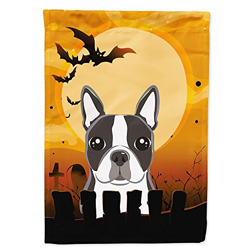 (Caroline's Treasures BB1761GF Halloween Boston Terrier Garden Size Flag, Small,)