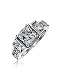 Bling Jewelry Sterling Silver 3 Stone Princess Cut CZ Engagement Ring 2ct