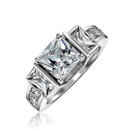 Art Deco Style 3CT Square Princess Cut 3 Stone Past Present Future Promise CZ Engagement Ring 925 Sterling Silver