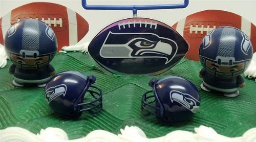 NFL Football Seattle Seahawks Birthday Cake Topper Set Featuring Helmets And Decorative Pieces Amazonca Toys Games