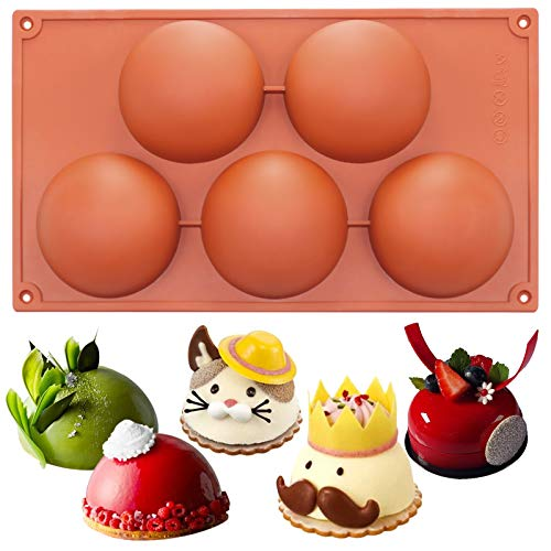 Funshowcase Extra Large 5 Cavities Semi-sphere Dome Mousse Cake Silicone Mold