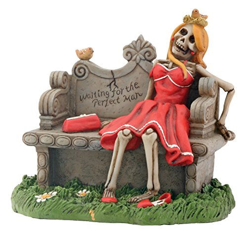 Waiting for Perfect Man Skeleton with Red Dress Display Figurine
