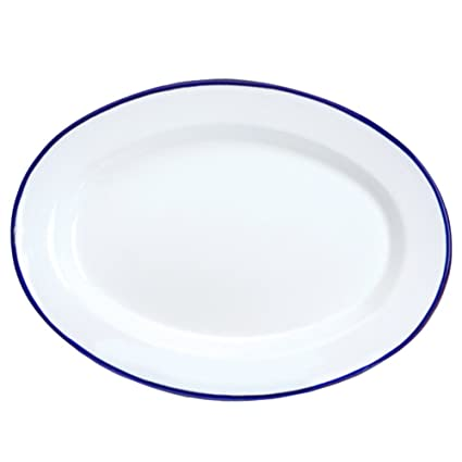 Enamelware Oval Plate - Solid White with Blue Rim  sc 1 st  Amazon.com & Amazon.com | Enamelware Oval Plate - Solid White with Blue Rim: Oval ...