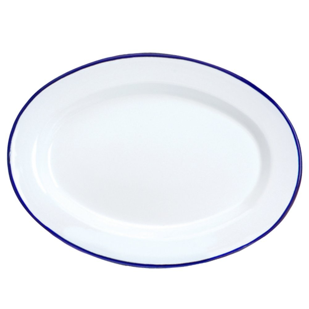 Enamelware Oval Plate - Solid White with Blue Rim
