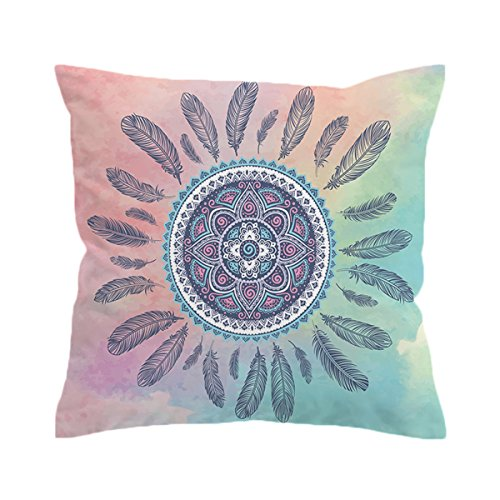 Sleepwish Boho Feathers Blue Pink Turquoise Throws for Couch Square Decorative Pillow Covers Bohemian Chic Cushion Cover (Hippy Feather, 28 X 28 Inch)