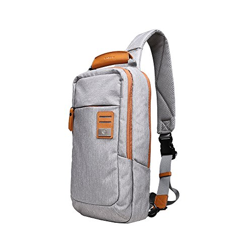 Dpark New Group Series Water-resistant Canvas& PU Sling Chest Shoulder Bag Pack Small Crossbody Backpacks Portable Sport Pack Travel Backpack for Men Women Child (Grey&Yellow) ()