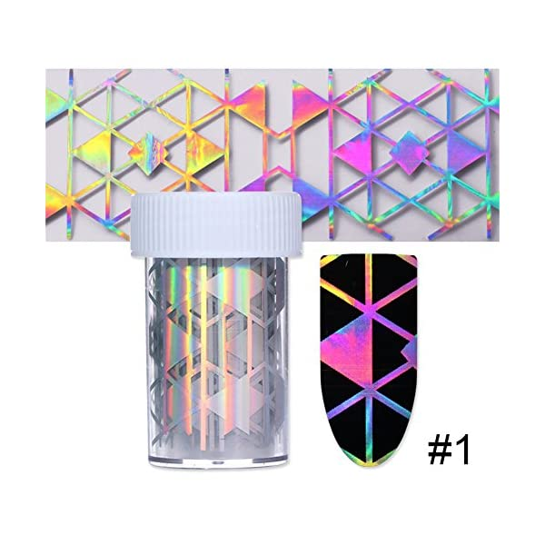 BORN PRETTY 10Rolls Nail Art Foil Sticker Holographic Laser Gradient Starry Sky Geometry Flower Manicuring Transfer… 9