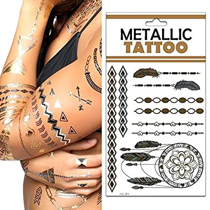 Lote 6 - Placa Nº 13 tatuajes temporales de metal étnico hippie ...