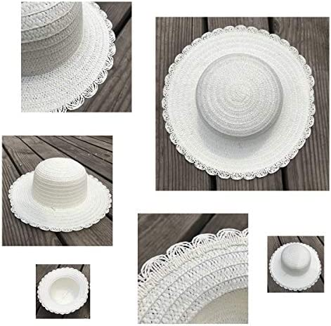 10Pcs DIY Straw Hats Set, 5 Laciness White Straw Hats + 5 Round White Straw Hats for Kids Creative Art Painting & DIY Tea Party Dress Up Hats