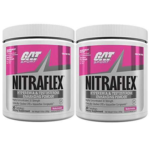 GAT Nitraflex Pre-Workout High-Intensity Training Formula, Pack of Two 30 Servings Watermelon