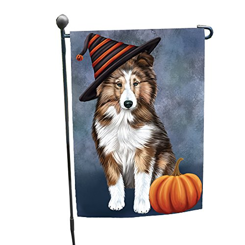 Happy Halloween Shetland Sheepdog Dog Wearing Witch Hat with Pumpkin Garden Flag