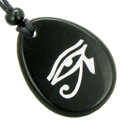 Magic Eye of Horus Amulet Black Agate Word Stone Lucky Pendant Necklace