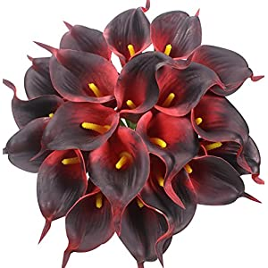 Duovlo 20pcs Calla Lily Bridal Wedding Bouquet Lataex Real Touch Artificial Flower Home Party Decor (Dark Red) 26