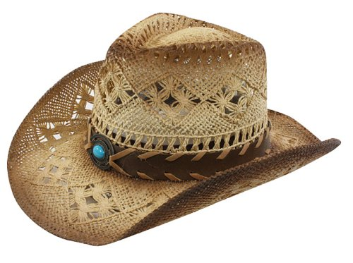 Cowboy Men Women Toyo Straw Hat Blue Stone Trim Tea Stn ()