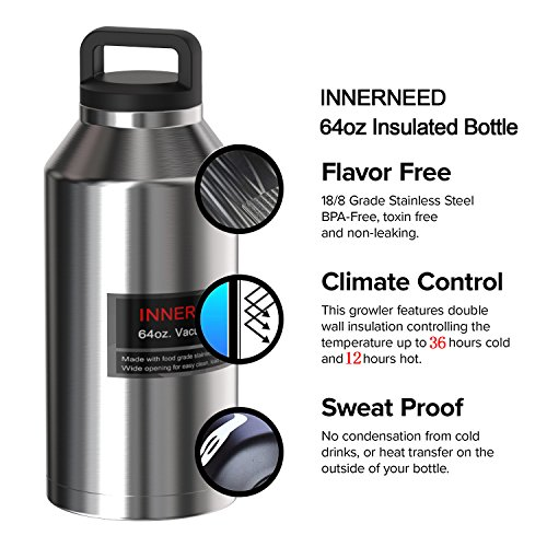 INNERNEED 64 oz Insulated Water Bottle Leak-Proof Stainless Steel Double-Walled Vacuum Flask Large Capacity Beer Growler by Innerneed (Image #2)