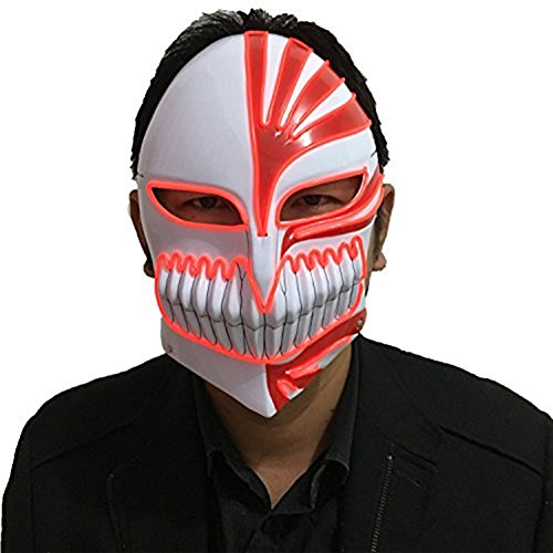 Mask Of The Red Death Costumes (Death Mask, Halloween Horror Grimace Ghost Step Dance of Death Emitting LED Mask (Red))