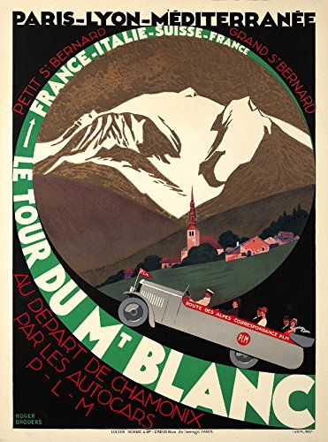 - Le Tour du Mt Blanc Vintage Poster (artist: Broders, Roger) France c. 1927 (16x24 SIGNED Print Master Giclee Print w/Certificate of Authenticity - Wall Decor Travel Poster)