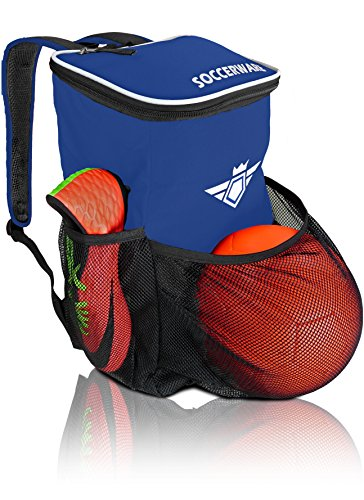 Ball Holder Compartment - For Kids Youth Boys & Girls | Bag Fits All Soccer Equipment & Gym Gear (Black) (Blue) (Soccer Kids Backpack)