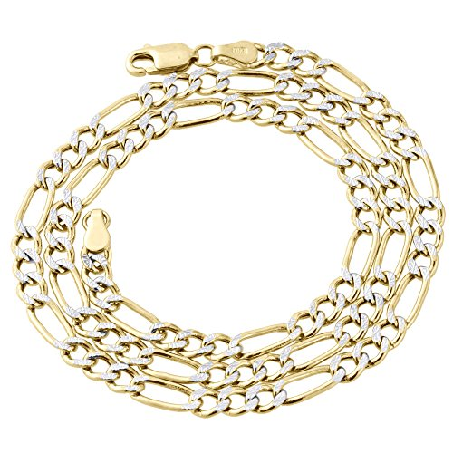 10K Yellow Gold 4.25mm Diamond Cut Figaro Chain Necklace Lobster Clasp, 24 Inches (Diamond Cut Figaro Chain Necklace)