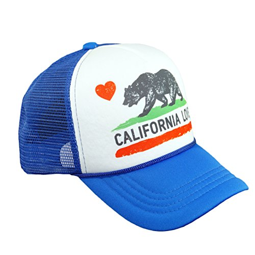 California Love Printed Mesh Hat Heart Bear Trucker Adjustable Baseball Cap