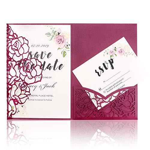 HIGHYI Laser Cut Wedding Invitation Card-Burgundy 3 Folds Rose Shape Greeting Card For Engagement Birthday Baby Shower Party Dinner (DIY Blank Inner Sheet) 20PCS -