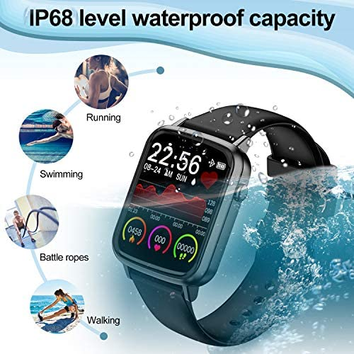 2020 CEGAR Fitness Tracker, Smart Watch with Heart Rate, Ip68 Waterproof Bluetooth Smartwatch for Android iOS Phone, Sleep Tracking Calorie Counter,Pedometer for Women Men (Black) 51WC2jinUoL