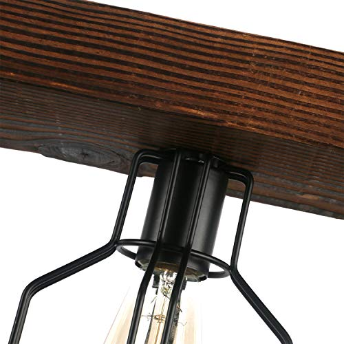 Unitary Brand Vintage Black Metal and Wood Body Cage Shade Kitchen Island Lighting with 4 E26 Bulb Sockets 240W Painted Finish by Unitary (Image #4)