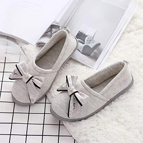Slip Womens Comfort Back Gray Shoes with Bow Slippers Wide Anti Closed amp; Extra Roomy Edema Slippers BUYITNOW Home Swollen Cotton avdHwdq