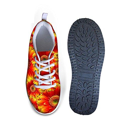 För U Designar Blom- Rose Print Fitness Walking Sneaker Avslappnad Kvinnor Kilar Platåskor Orange A