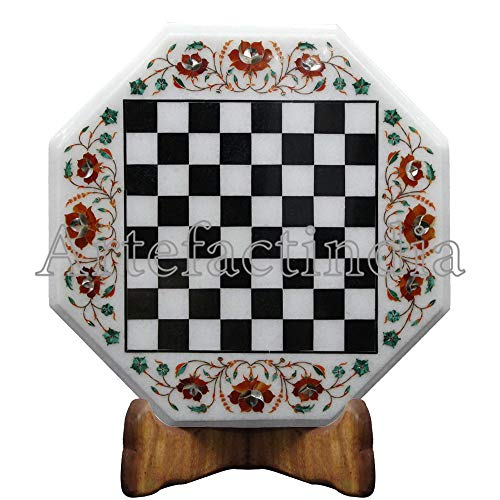 (Artefactindia Pietra Dura White Marble Chess Board Set Completely Handmade with Floral Design Best for Gift and Play Serious Game 15