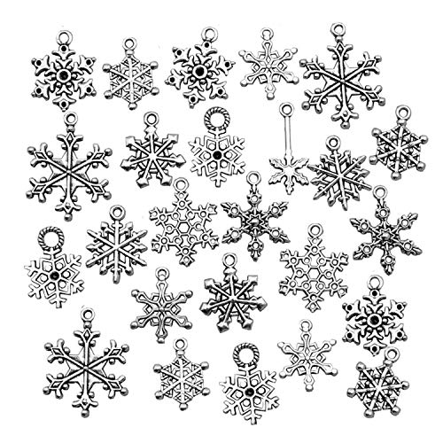(Snowflake Charm-100g (about 80-90pcs) Antique Silver Christmas Snowflake Charms Pendants for Crafting, Jewelry Findings Making Accessory For DIY Necklace Bracelet HK27 (Snowflake Collection))