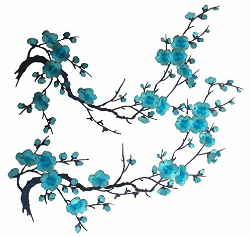 Two Asian Cherry Blossom Sakura Flower Iron on Embroidered Appliques Patch Japanese Chinese