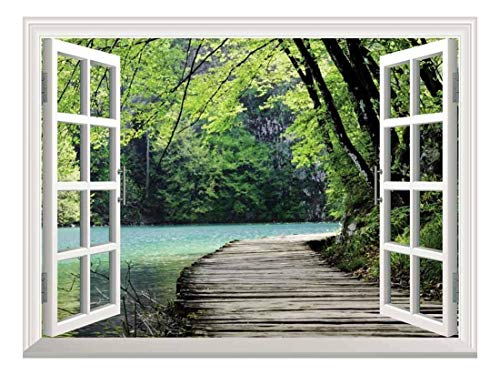 Peel and Stick Wallpapaer Collage Removable Large Wall Mural Creative Wall Decal ( Bridge by a Lake)