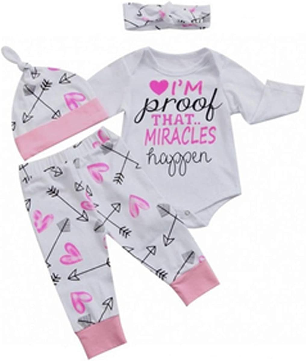 0-3 Months, White Dookingup Newborn Infant Toddler Baby Girls Im Miracles Print Pink Arrow Pattern Pants Romper Bodysuit Jumpsuit 4 Piece Outfit Set