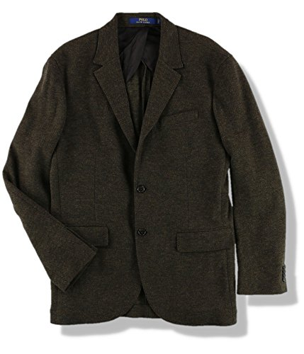 (Ralph Lauren Mens Double-Knit Two Button Blazer Jacket Green)