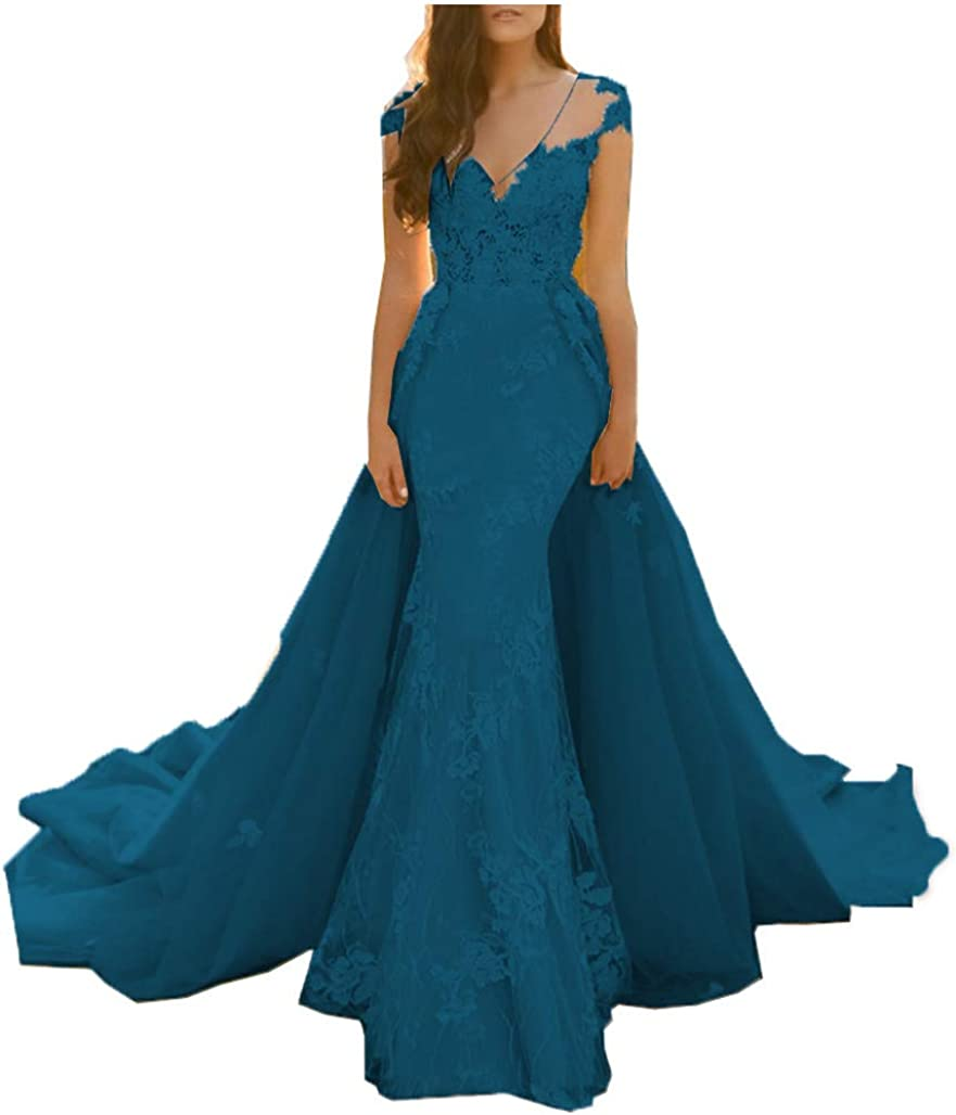 MariRobe Womens Lace Sweep Train Evening Dress Back Prom Dress Party Gowns