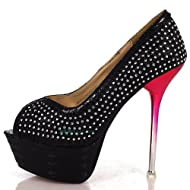 WOMENS DIAMANTE RHINESTONE CRYSTALS STUDDED PEEP TOE HIGH HEEL STILETTO SHOES