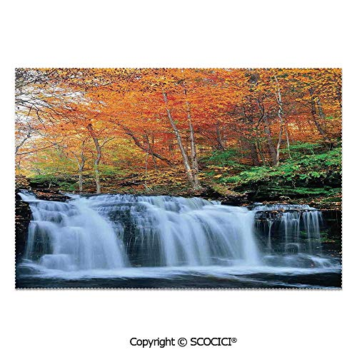 SCOCICI Place Mats Set of 6 Personalized Printed Non-Slip Table Mats Waterfalls in Autumn Season Nature Park with Colorful Foliage Trees for Dining Room Kitchen Table Decor