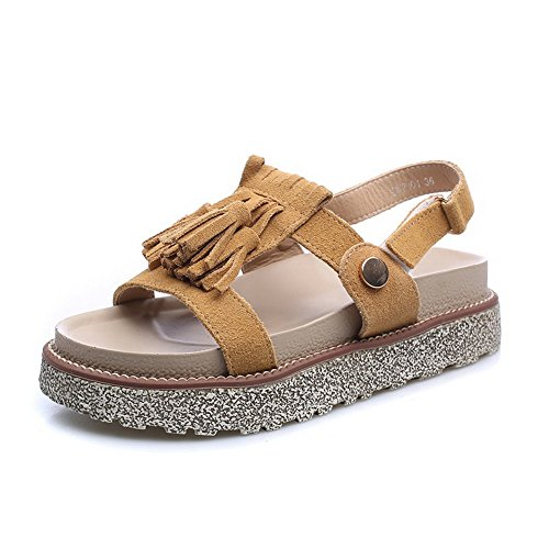 AllhqFashion Women's Kitten-Heels Frosted Solid Hook-and-loop Open Toe Sandals Camel d4kos