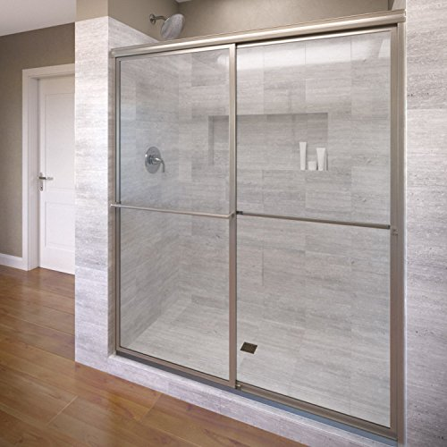 Basco Deluxe Framed Sliding Shower Door, Fits 56-59 inch opening, Clear Glass, Brushed Nickel Finish