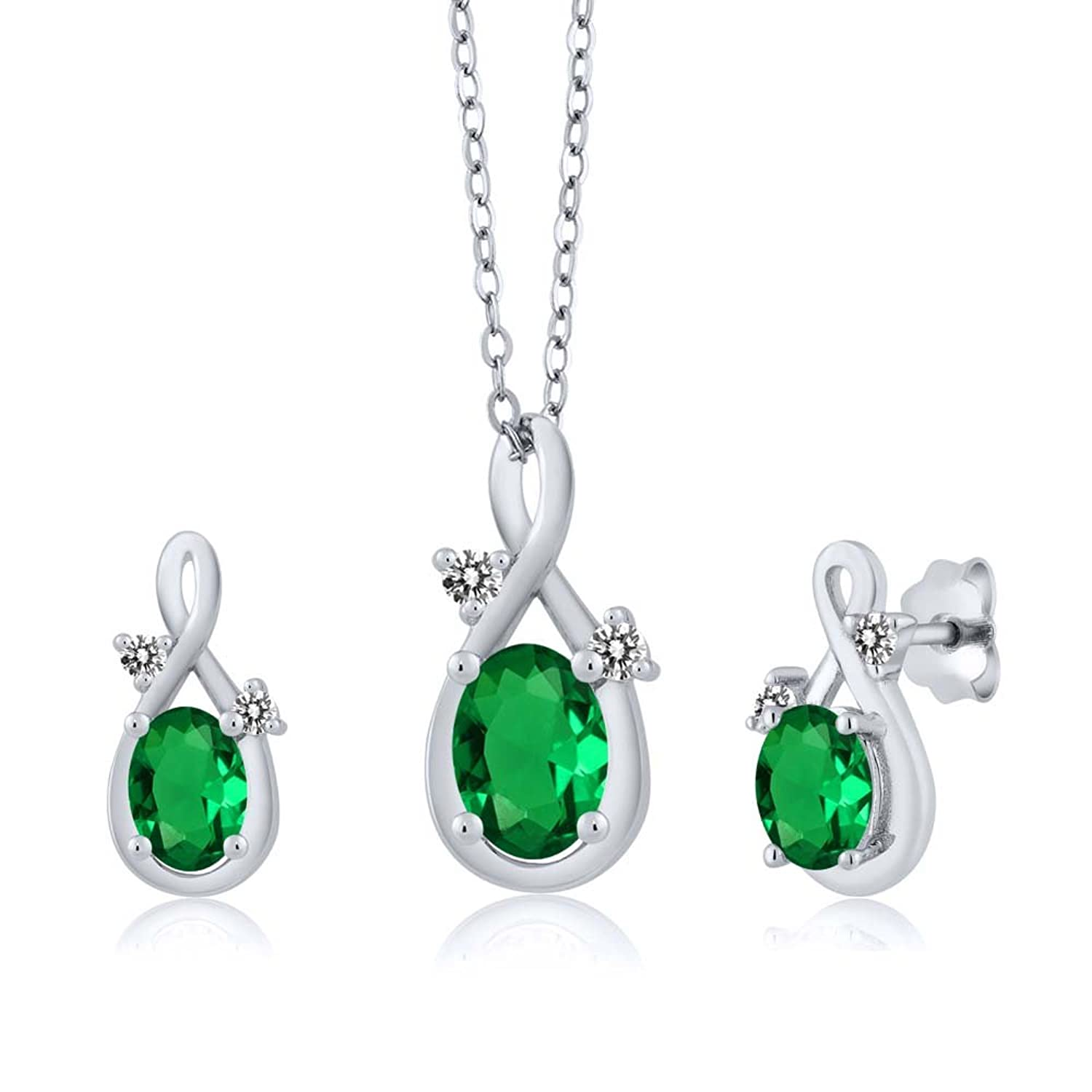 1.50 Ct Oval Green Simulated Emerald 18K White Gold Pendant Earrings Set