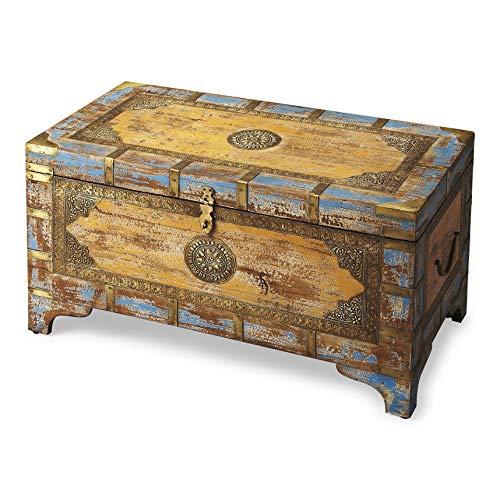 Butler Artifacts Assorted Rectangular Wood, Brass Fitting NADOR Painted Brass Inlay Storage Trunk (Butler Nador Painted Brass Inlay Storage Trunk)