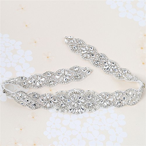 White Pearl Thin - XINFANGXIU Rhinestone Wedding Applique, Crystal Bridal Belt Applique Pearls Beaded Dacorations Handcrafted Sparkle Elegant Thin Sewn or Hot Fix for Women Gown Evening Prom Dresses Sashes - Silver