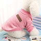 Pet Dog Classic Knitwear Sweater Warm Winter Puppy Pet Coat Soft Sweater Clothing For Small Dogs (S, Pink)