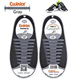 Coolnice No Tie Shoelaces for Adults DIY 16pcs - Environmentally safe silicone - Lazy Shoestrings - Color of Gray